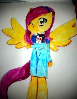 fluttershy dressed like maria by Mongoosegoddess