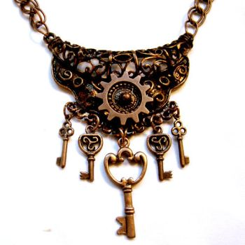 Elite Cogs and Keys Necklace by Om-Society