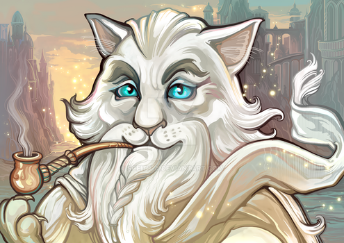 Catdalf the White (Catamancer Art) by Sceith-A
