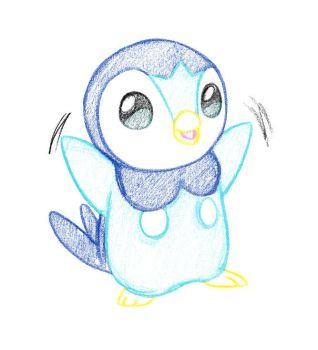 Pokemon Sketch request 07 - Piplup by Azouie