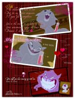 Valentine Card #2: From Yzma Cat with Love (Red) by SlytherclawPadawan