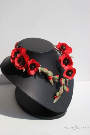 red poppy flowers necklace by fion-fon-tier