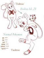 Fakemon Ticktoe and Tacktoe by spiderliing666