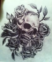 Skull and rose sketch by CalebSlabzzzGraham