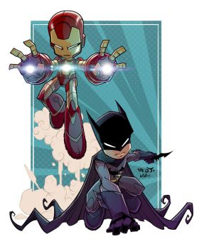 Red J. Iron Man and Batman Color by WEB99
