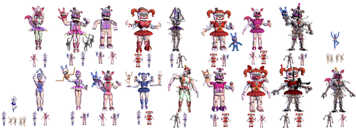 Sister Location Fusion Characters [Part 1] by TheGoldenGamer90010