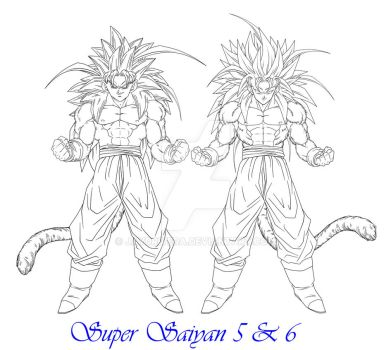 Arevir SSJ5 and SSJ6 Lineart by JayDRivera