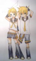 Rin and Len Kagamine by s6i7