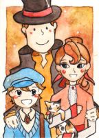 Prof. Layton: family portrait by Nanaowl