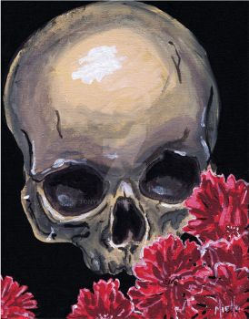 Skull and Flowers by TonyMiello