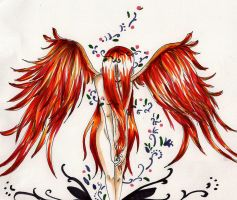 wings of fire- angelic phoenix by peevelmouse
