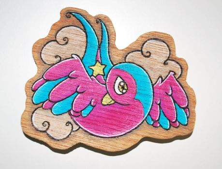 Swallow Tattoo Design Plywood Brooch by kazzycaboodles