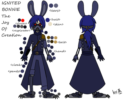 Ignited Bonnie mini reference by Angel-from-FNaF