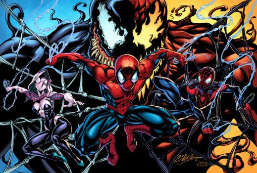 Spidey Collage 2 Colors by CdubbArt