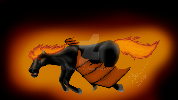 Flying Flame Demon Horse by SnowxChan