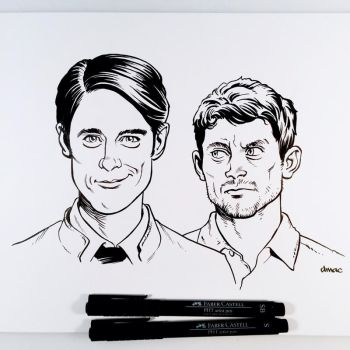 Inktober Day 22 - Dirk Gently and Todd by D-MAC