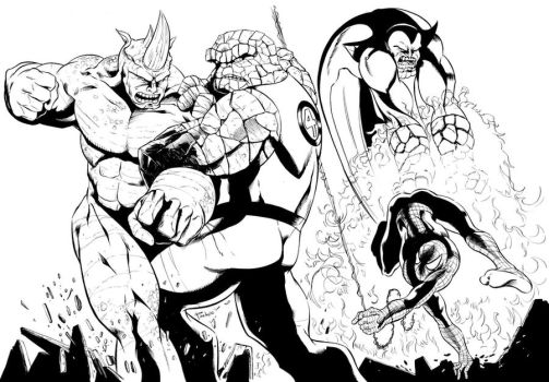 The Thing and Spiderman BW by Alfonso-Pinedo