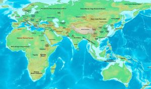 Old World reference map, 3000 BC by OneHellofaBird