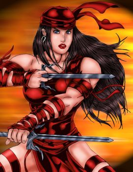 Elektra -colored and inked by OutlawTornDOA