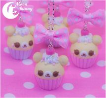 Cupcake bear Pendant By Moon bunny by CuteMoonbunny