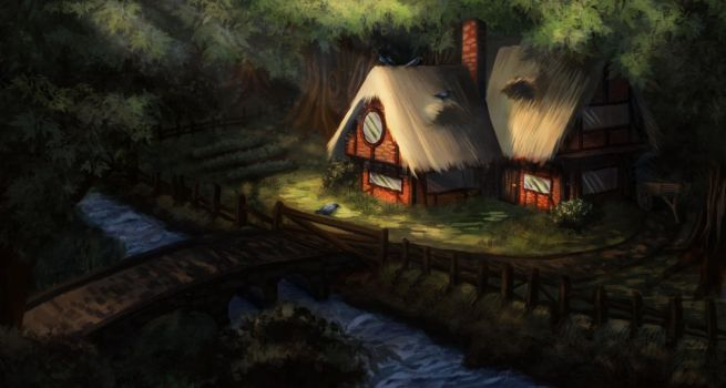 Little House in the Forest ver. 2 by Hikari-chyan