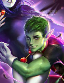 Beast Boy Glomp by sakimichan