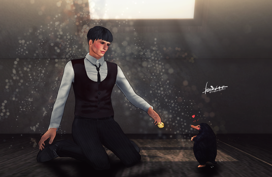 Credence and Niffler by freakyzzang