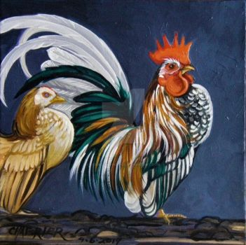 Serama Rooster and Hen 3 by HouseofChabrier