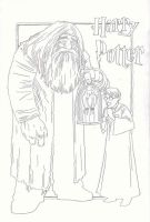 Harry, Hagrid, and Hedwig by nevershop