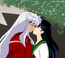 InuYasha and Kagome - A Kiss by blondishnet