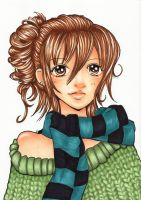 Girl With Scarf [Original lineart by Namtia] by Kat0che
