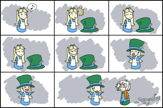 Alice and Hatter - Hat Envy by stargaziey