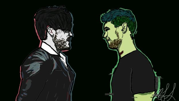 Darkiplier Vs. Antisepticeye by sereniedits