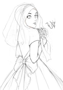 Wedding Dress Line Art1 by faizahfaizar