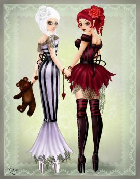 SnowWhite and RoseRed by ladylionink