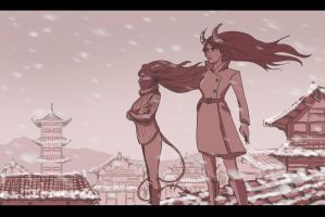 Lilith and Myeong Iseul in rooftop epic poses by MrTom01