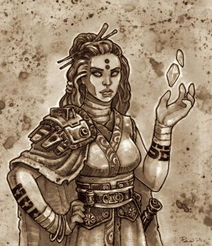 Witch of Balmorra - Sepia by PaleLonginus