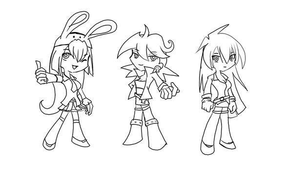 LineArt BG Trinity and Mika by OCR-ED-209