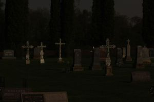 Cemetery at Midnight in a Full Moon by mitsubishiman
