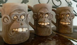 Morning Monkey Mugs by thebigduluth