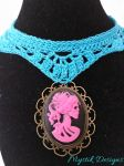Pink Skeleton Cameo Turquoise Lace Choker by Branxnia