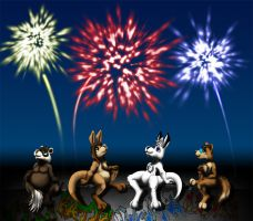 Chibies and fireworks by WhiteRoo