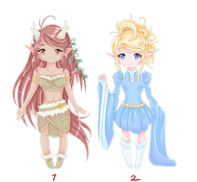 Two adoptable elf girls -open- by MagicMoonBird