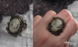 Cameo Victorian/steampunk ring by bodaszilvia