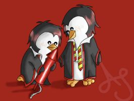 HP Penguins- Fred and George by Akei-Tyrian
