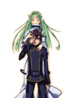 C.C. and Lelouch Code Geass by PommeC
