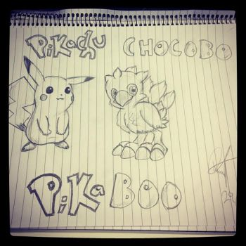 Pikachu and Chocobo - Pikaboo by Utherdoll