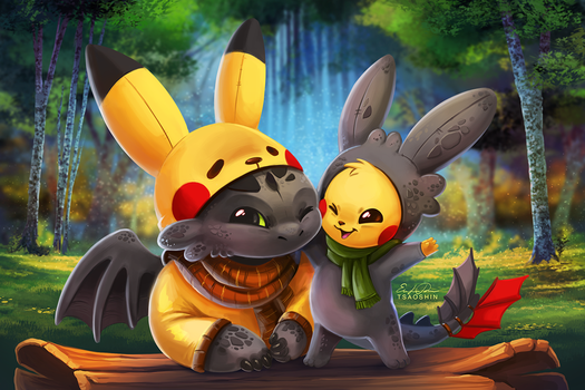 Pikachu and Toothless by TsaoShin