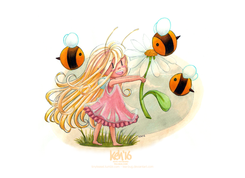 Teasel + Bees by tea-bug
