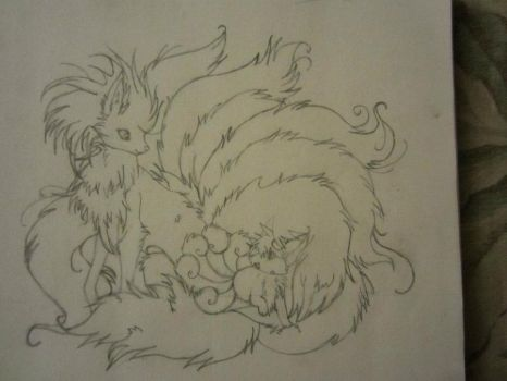 Ninetails and Vulpix by cycy758